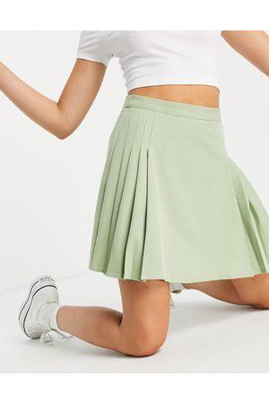 Lola May Pleated tennis mini skirt in sage green