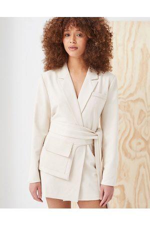 4th & Reckless 4th + Reckless belt detail blazer dress in cream