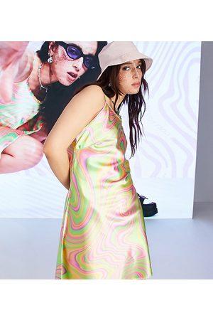 Collusion Satin racer slip mini dress in fluro swirl print