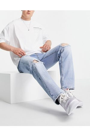 ASOS Original fit jeans in vintage light wash with heavy rips