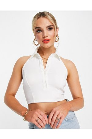 Glamorous High collar button front crop top in rib