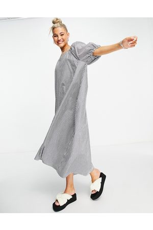 Object Organic cotton reversible maxi smock dress with tie detail in stripe