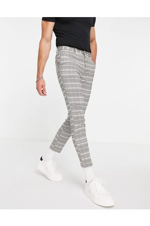 New Look Cropped slim suit trousers in grey check