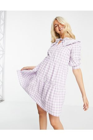 Influence Mini dress with collar in lilac gingham