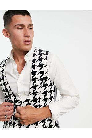 Twisted Tailor Waistcoat in white with oversized houndstooth design