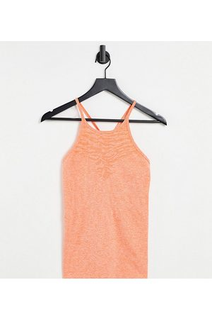 Mama.licious Mamalicious Maternity recycled blend strappy sports top in orange