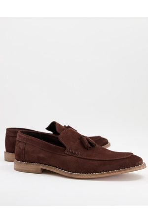 ASOS DESIGN Loafers in brown suede with tassel on natural sole