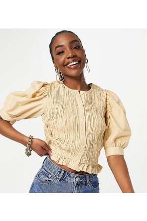 Pieces Tall Plisse blouse in camel