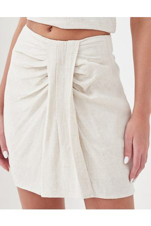 4th & Reckless Kora linen tie front beach mini skirt co