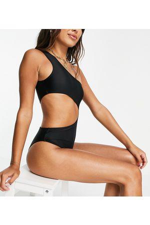 Public Desire One shoulder cut out swimsuit in black