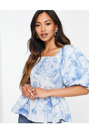 Y.A.S Organic cotton puff sleeve smock top in blue cloud print