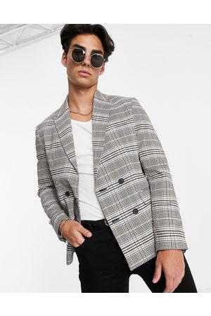 New Look Slim double breasted suit jacket in grey check