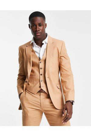 ASOS Skinny suit jacket in tan cotton linen