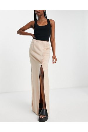Lola May Wrap maxi skirt with buttons in champagne