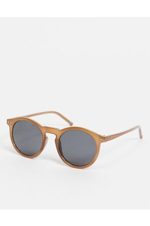 ASOS DESIGN Round sunglasses with brown frame