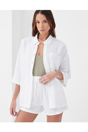 4th & Reckless Nixie linen oversized beach shirt co