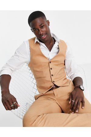 ASOS DESIGN Skinny suit waistcoat in tan cotton linen