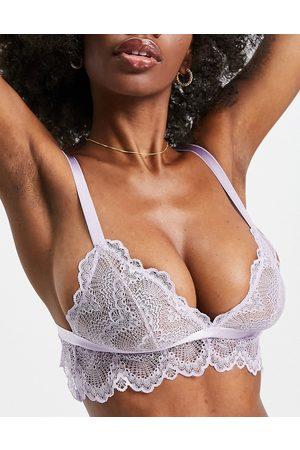 ASOS DESIGN Fuller Bust Rosie lace longline bra in lilac