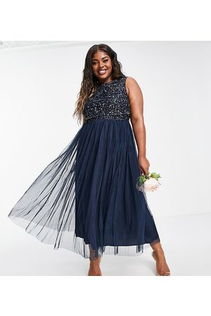 Maya Plus Bridesmaid sleeveless midaxi tulle dress with tonal delicate sequin overlay in navy