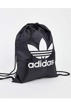 adidas Originals Adicolor Trefoil drawstring bag in black