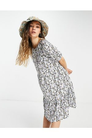 Only Mini smock dress with open back in ditsy floral