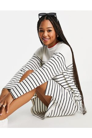 French Connection Classic jersey striped dress in cream