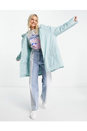 ASOS DESIGN Padded button through raincoat with hood in baby blue
