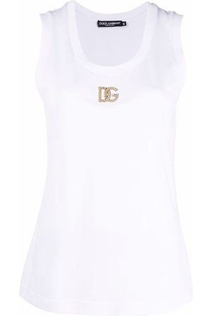 Dolce & Gabbana Mujer Tank tops - Crystal-logo tank top