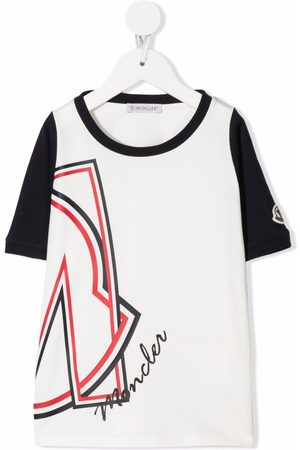 Moncler Niño Playeras - Logo-print two-tone T-shirt