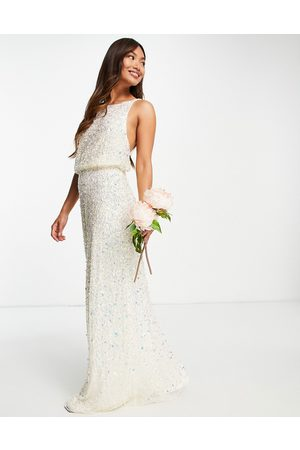 Maya Bridal maxi wedding dress with low back in all over 3D ecru sequins