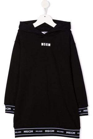 Msgm Niña Vestidos - Logo-tape hooded dress
