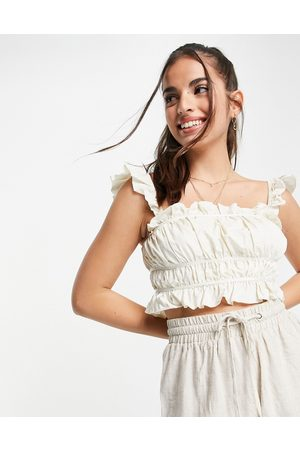 Skylar Rose Ruched crop top with frill sleeves