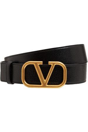 """VALENTINO GARAVANI Cinturón De Piel Con Hebilla """"v"""" 3.5cm"""