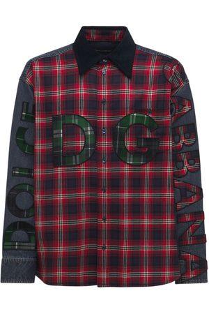 Dolce & Gabbana Camisa Oversize De Denim Y Franela Con Logo