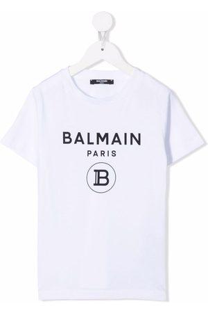 Balmain Niño Playeras - Logo-print cotton T-shirt