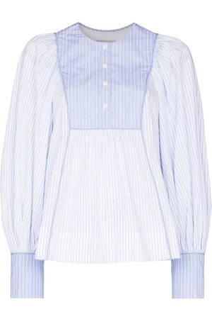 Lee Mathews Diana crew neck pinstripe blouse