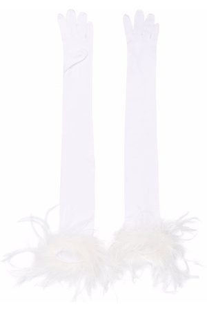 Styland Mujer Guantes - Feather-trim long gloves