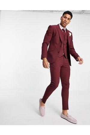 ASOS Hombre Slim y skinny - Wedding super skinny suit trousers in burgundy micro texture