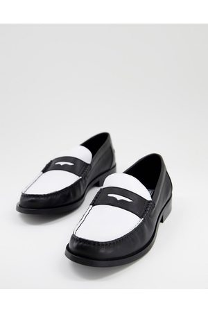 ASOS Hombre Mocasines - Loafers in black and white leather with black sole