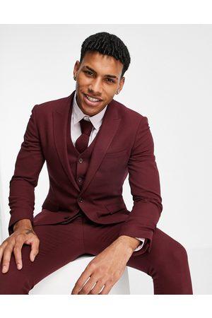 ASOS Wedding super skinny suit jacket in burgundy micro texture