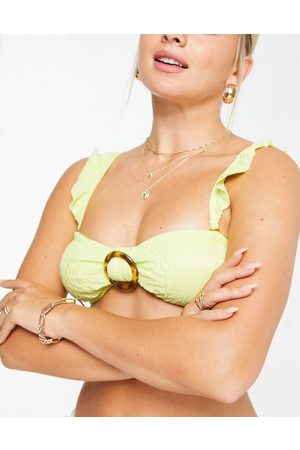 South Beach Bandeau bikini top with frill detail in yellow