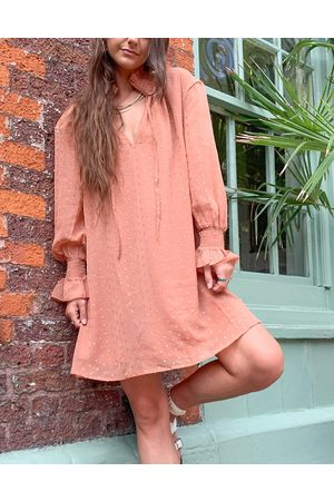 VIOLET ROMANCE Mujer Casuales - High neck smock mini dress in rust