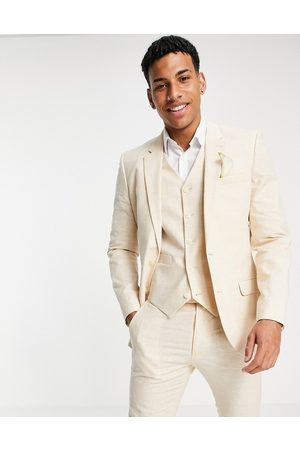 ASOS Hombre Sacos - Wedding linen super skinny suit jacket with prince of wales check in stone