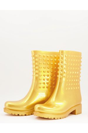 ASOS Mujer Botas de lluvia - Grateful studded wellie boots in gold