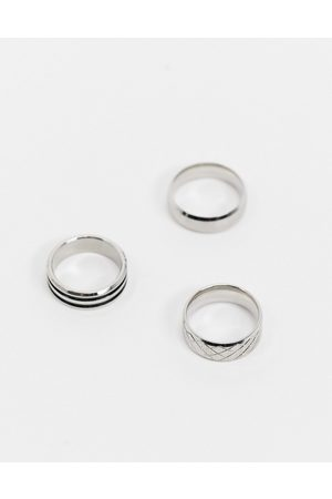 ASOS Hombre Anillos - 3 pack stainless steel band ring set in silver tone