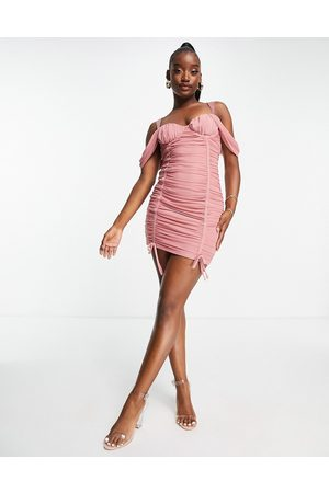 Saint Genies Ruched off the shoulder mini dress in blush
