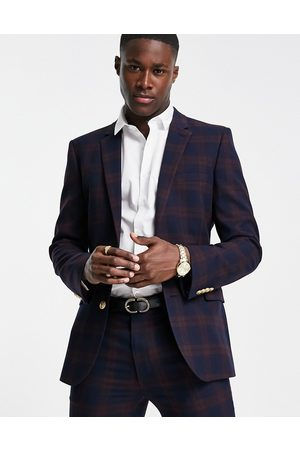ASOS Super skinny suit jacket in burgundy mid scale check with gold button