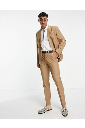 ASOS Slim double breasted suit jacket in camel