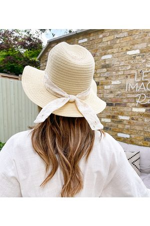 Labelrail X Collyer Twins wide brim sun hat with strap in broderie
