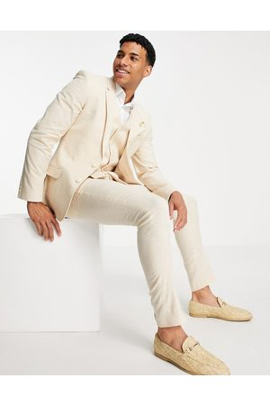 ASOS Wedding linen super skinny suit trousers with prince of wales check in stone